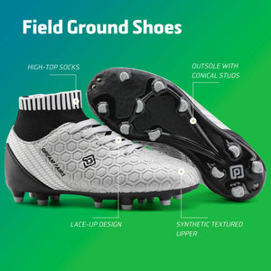 Kids Cleats Soccer Shoes- Black Silver