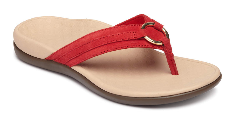 Women's Tide Aloe Toe-Post Sandal- Flip- Flop with Concealed Orthotic Arch Support -Cherry Suede