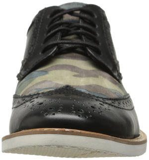 Men's Tinsley-Wingtip Lace Up Oxford- Black Olive Camouflage Suede