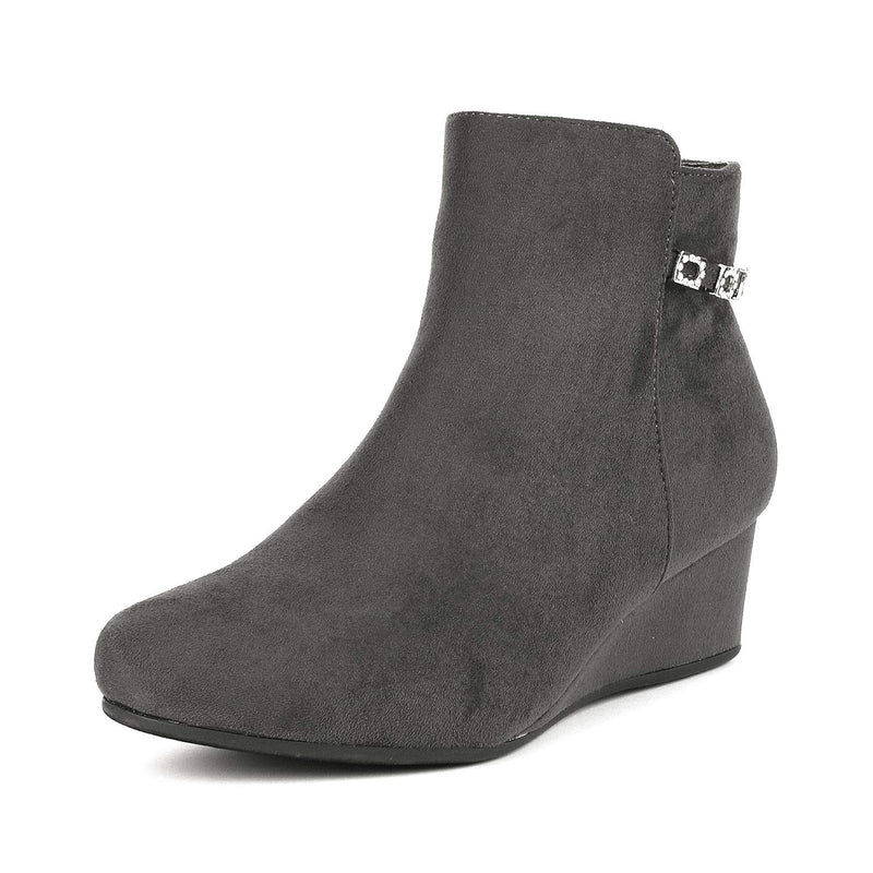 Women's Low Wedge Ankle Boots- Felicia Grey