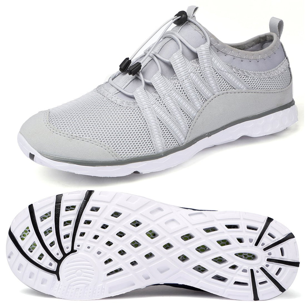 Men's Lightweight Quick Dry Water Shoes- Grey White