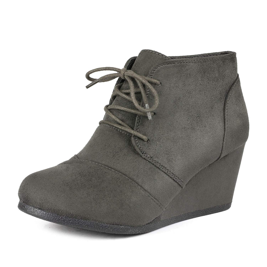 Women's Casual Fashion Low Wedge Heel Boots-Tomson Grey