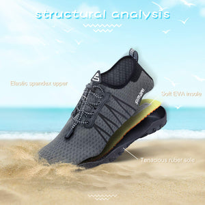 Men's Diving, Swim, Surf Quick Dry Water Shoes- Light Gray