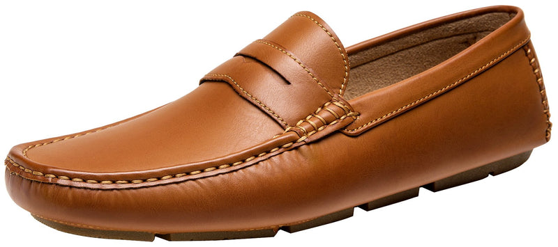 Men's-Loafers-Slip-On-Classic-Penny-Loafers-Yellow Brown