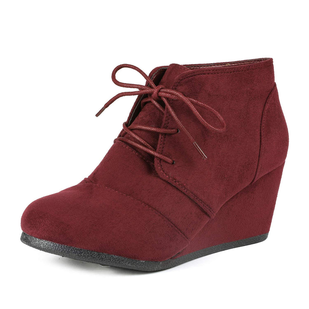 Women's Casual Fashion Low Wedge Heel Boots-Tomson Burgundy