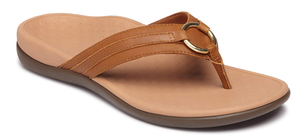 Women's Tide Aloe Toe-Post Sandal - Flip- Flop with Concealed Orthotic Arch Support -Mocha Leather