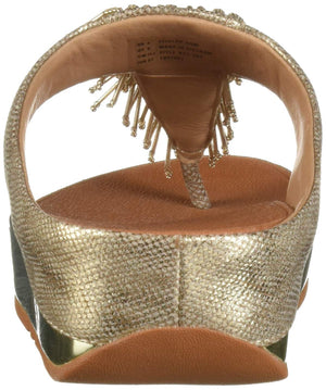 FitFlop Women's CHA Toe-Thong Sandals-Shimmer-Print Flip-Flop, Gold