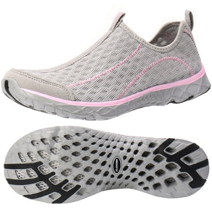 Women's Mesh Slip On Water Shoes- LT Gray Pink
