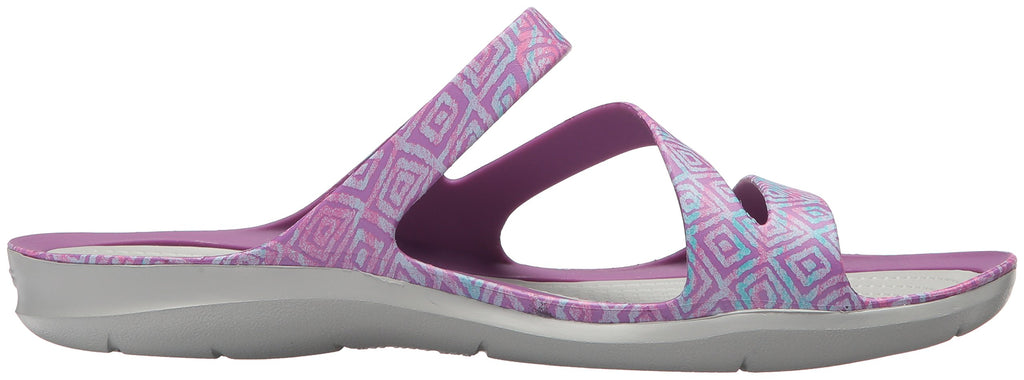 Crocs Women's Swift Water Graphic Sandal W Sport, Amethyst Diamond/Light Grey