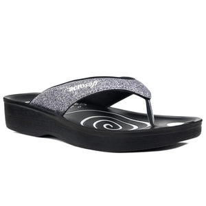 Aerosoft Gliteratti Orthotic Soft Open-Toe Comfortable flip-Flop Sandals- Glitter Grey