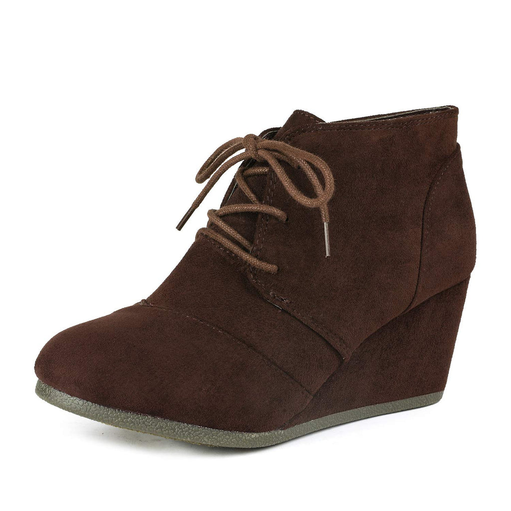 Women's Casual Fashion Low Wedge Heel Boots-Tomson Brown