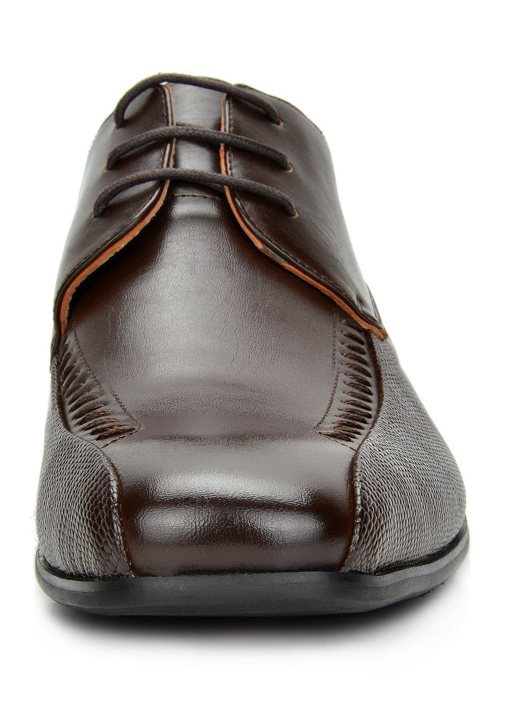 Men's Classic Modern Formal Oxfords Lace Up Leather Lined Snipe Toe- Dark Brown