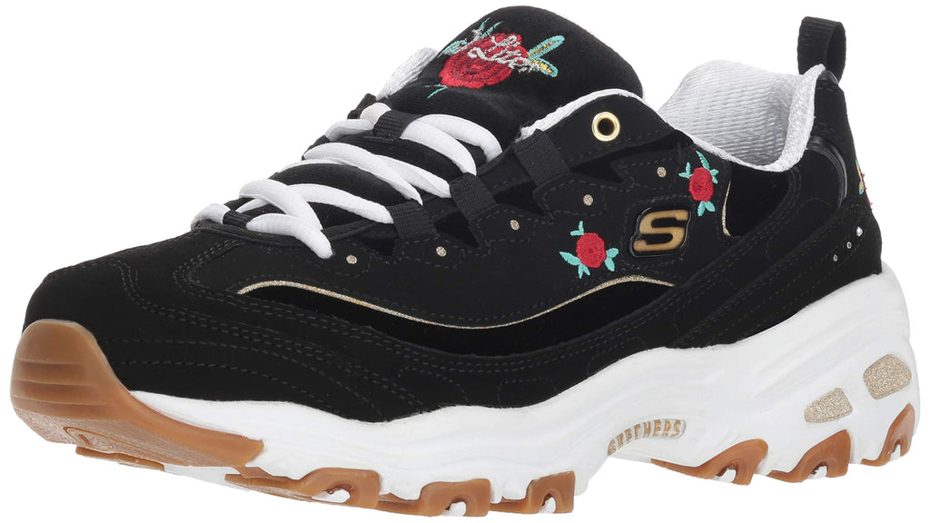 Women's D'Lites-Rose Blooms Sneakers- Black White
