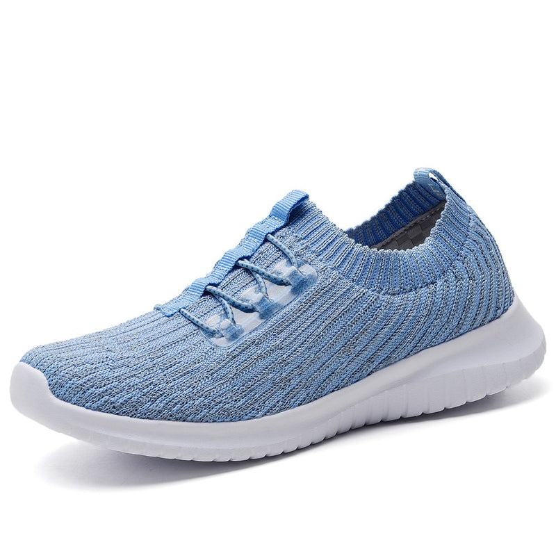 Women's Athletic Slip On Walking Sneakers- Light Blue