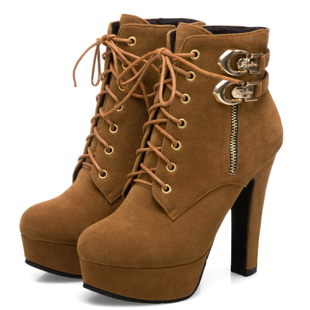 Women's-Martin-Platform-Ankle-Booties-Lace-Up-W- Zipper-Brown