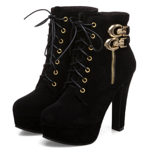 Women's-Martin-Platform-Ankle-Booties-Lace-Up-W- Zipper-Black
