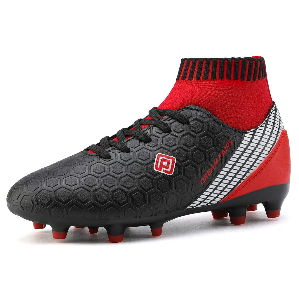Kids Cleats Soccer Shoes- Black Red