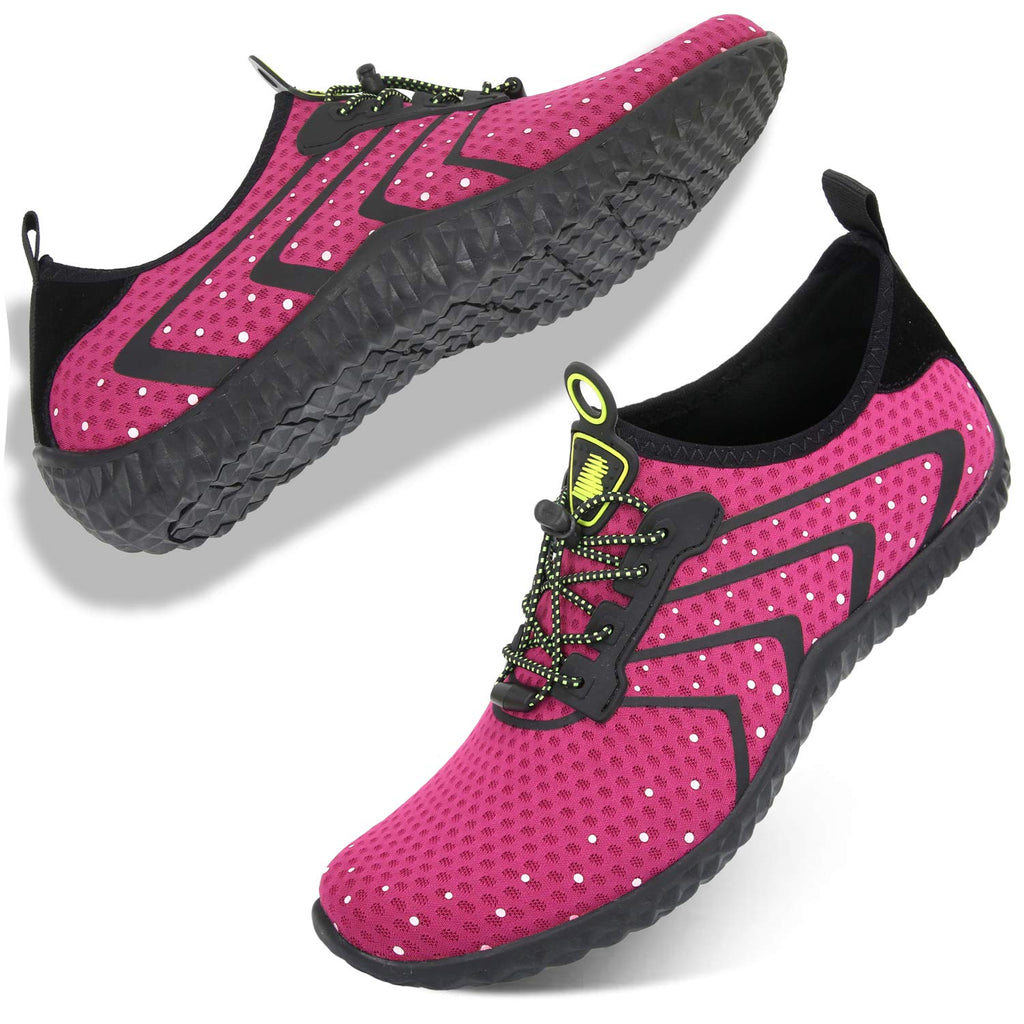 Women's Water Shoes Lightweight Quick Dry Non-Slip-Rose Red Dot