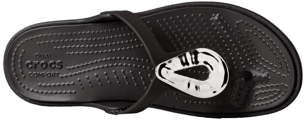 Crocs Women's Sanrah Liquid Metallic Flip Flop, Silver/Black,