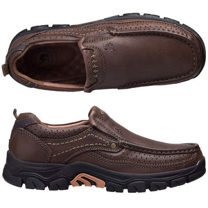 Men's Slip On Loafer Leather Casual Walking Shoes- Brown
