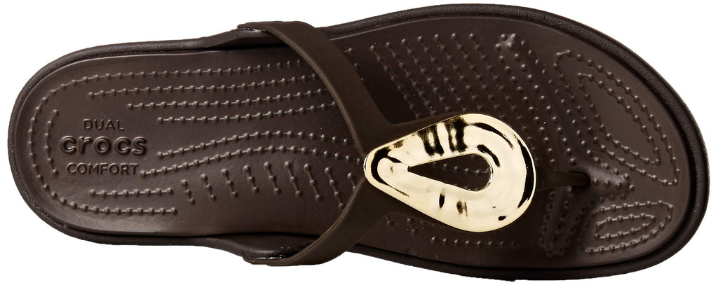 Crocs Women's Sanrah Liquid Metallic Flip Flop, Gold/Espresso