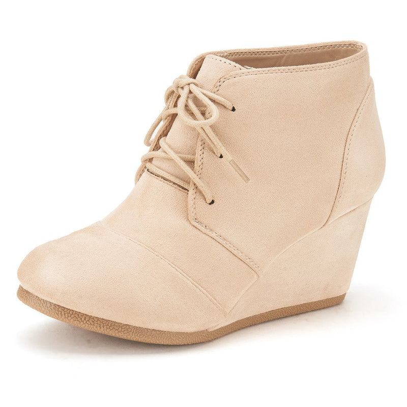 Women's Casual Fashion Low Wedge Heel Boots-Tomson Beige