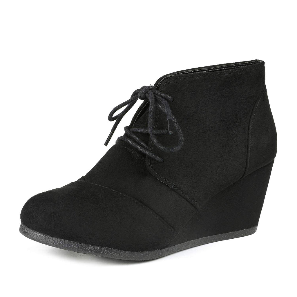 Women's Casual Fashion Low Wedge Heel Boots-Tomson Black