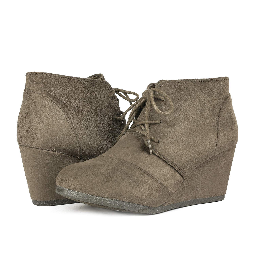 Women's Casual Fashion Low Wedge Heel Boots-Tomson Khaki
