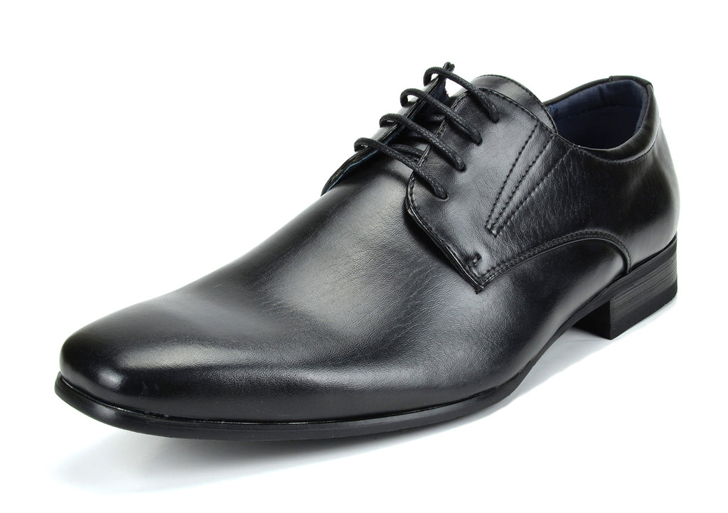 Men's Classic Modern Formal Oxfords Lace Up Leather Lined Snipe Toe- Black-3