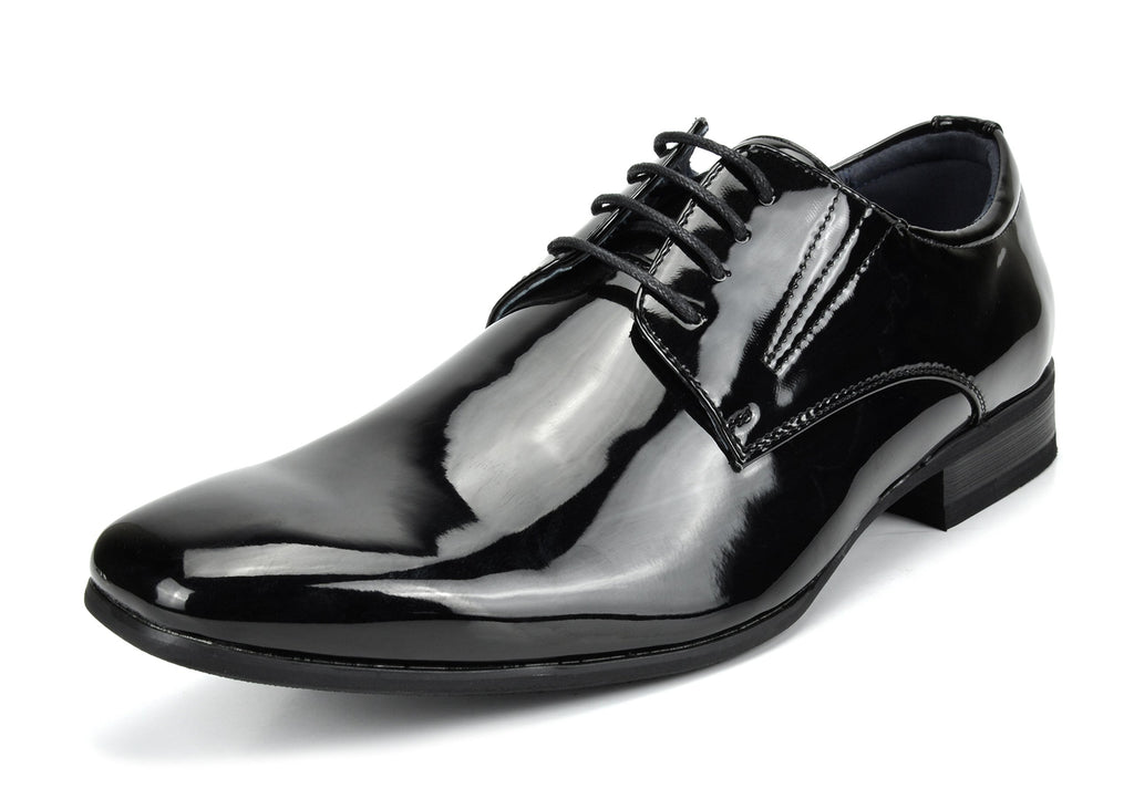 Men's Classic Modern Formal Oxfords Lace Up Leather Lined Snipe Toe- Black Pat