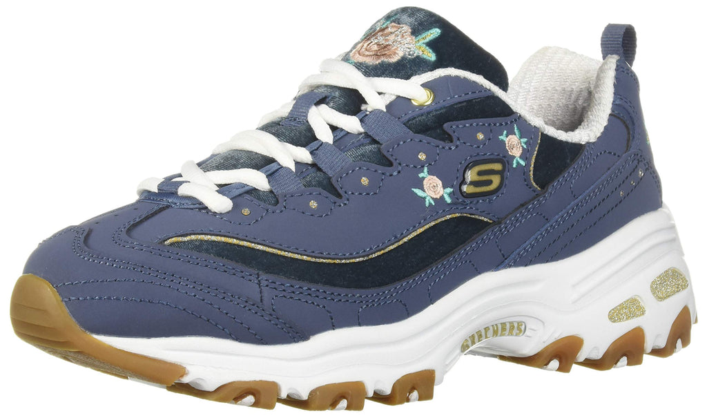 Women's D'Lites-Rose Blooms Sneakers- Navy