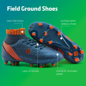 Kids Cleats Soccer Shoes- Dark Blue Orange