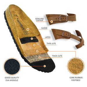AEROTHOTIC - Genuine Suede Leather and Cork Footbed Sandals- Minerva Brown