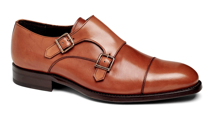 Men's Cali II Oxford Double Monk Strap Leather Shoes- Crust Tan