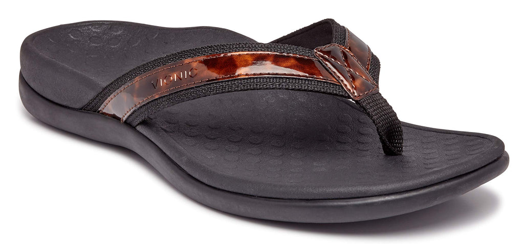 Women's Tide II Toe Post Sandal - Flip Flop with Concealed Orthotic Arch Support-  Black Tortoise