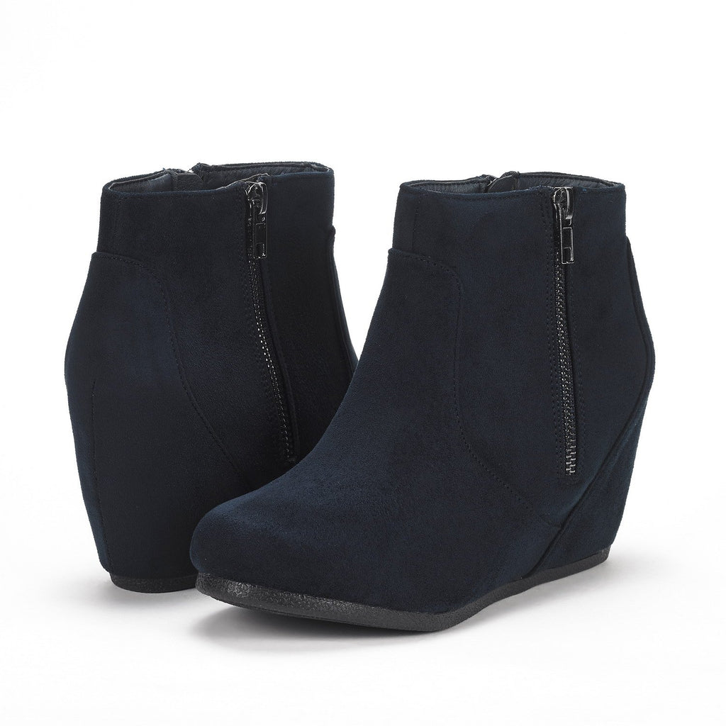 Women's Narie Low Wedges Ankle Boots- Narie Navy