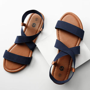 Rekayla Flat Elastic Sandals for Women Navy Blue