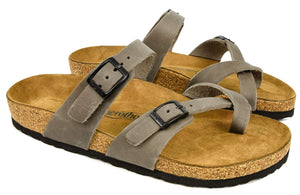 AEROTHOTIC - Genuine Suede Leather and Cork Footbed Sandals- Minerva Grey