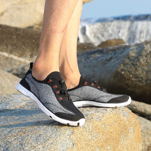 Men's Lightweight Quick Dry Water Shoes- Black Grey White