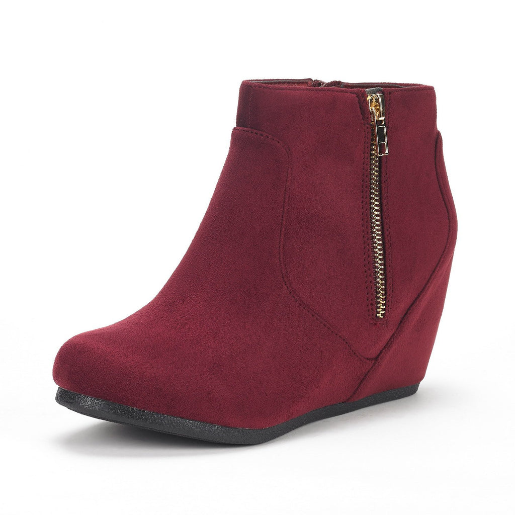 Women's Narie Low Wedges Ankle Boots- Narie Burgundy