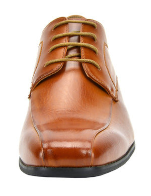 Men's Classic Modern Formal Oxfords Lace Up Leather Lined Snipe Toe- Brown-5