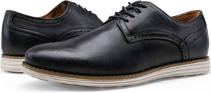 Men's Leather Brogue Wingtip Oxford Dress Shoes- Plain Black