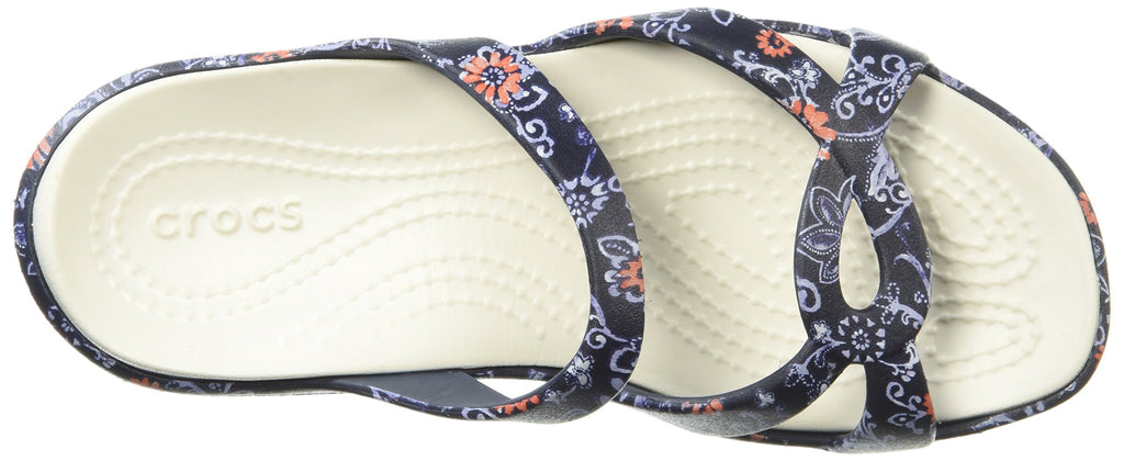 Crocs Women's Meleen Twist Graphic Sandal Slide, Navy/Floral
