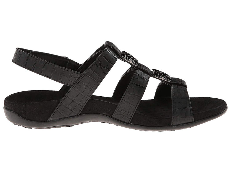 Women Rest Amber Backstrap Sandal- Black Crocodile
