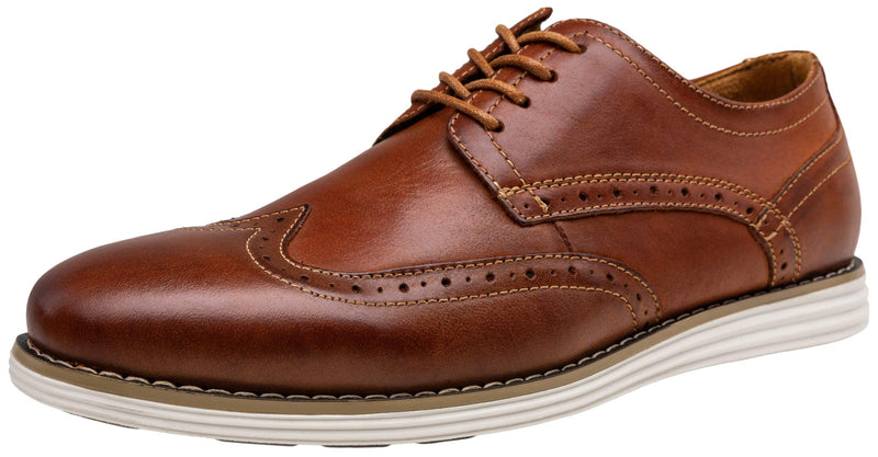 Men's Leather Brogue Wingtip Oxford Dress Shoes- OxBlood