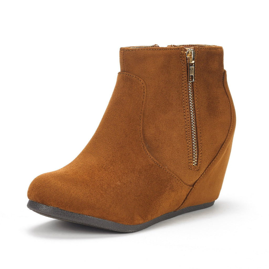 Women's Narie Low Wedges Ankle Boots- Narie Tan