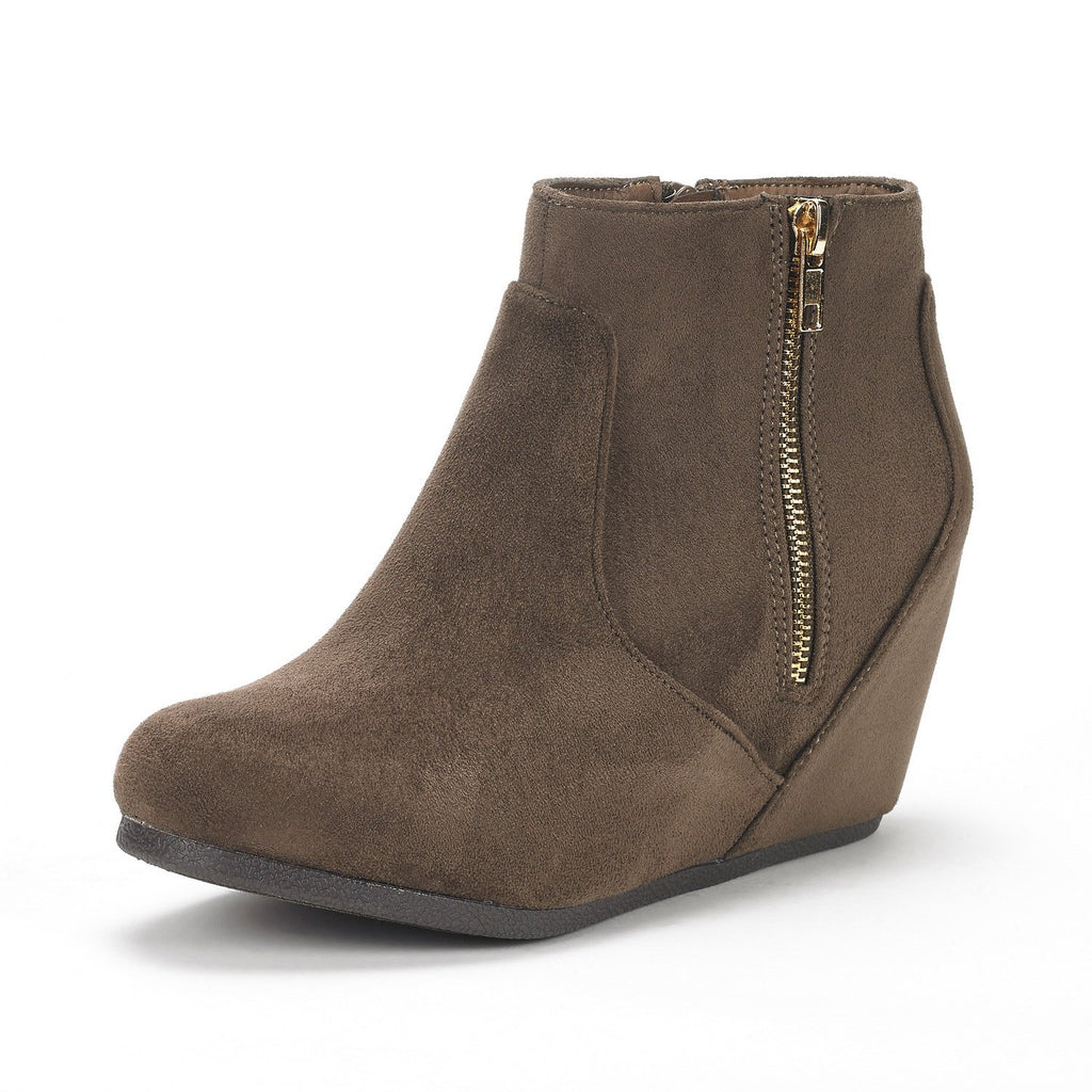 Women's Narie Low Wedges Ankle Boots- Narie Khaki