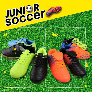 Kids Indoor-Outdoor Comfortable Soccer Shoes- Black Orange