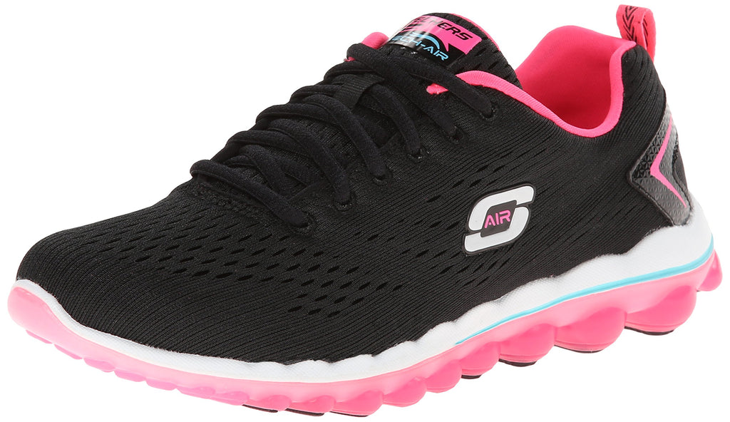 Women's Air Sneakers- Black Mesh Hot Pink Trim