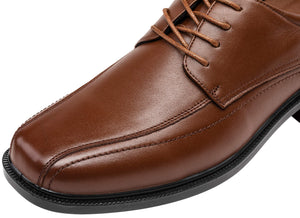 Men's Formal Leather Square Toe Oxford Lace Up Shoes- Brown